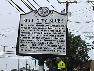 Reverend Gary Davis - Bull City Blues historical marker, Durham, North Carolina