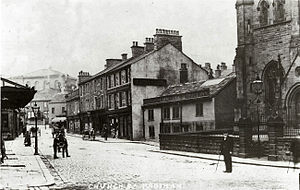Padiham - Church Street looking north from St Leonard's, c. 1900. The Old Black Bull is next to the church. The view has hardly changed, but unlike some others, the street is no longer cobbled.