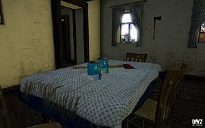 DayZ (video game) - Development screenshot showing items (axes and cans of beans), in locations the player would expect to find them inside an abandoned building