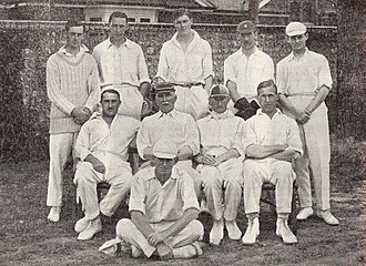 Archie MacLaren - The England XI chosen by MacLaren to play the Australians in 1921: MacLaren's side defeated the previously unbeaten touring team. MacLaren is seated second from the left on the middle row.