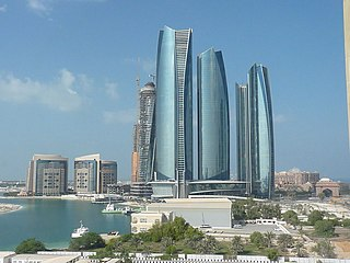 Etihad Towers complex of buildings with five towers in Abu Dhabi