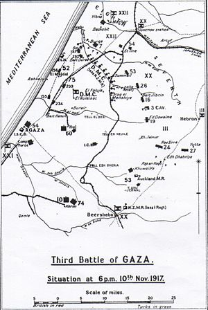 Battle of Mughar Ridge - Falls' Sketch Map 9 shows position of the advance at 1800 on 10 November 1917