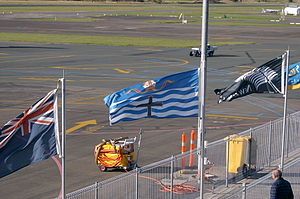 Flag of the City of Nelson - The flag flying at Nelson Airport