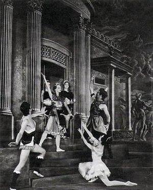 Sylvia (ballet) - Margot Fonteyn kneeling before Julia Farron (Diana) in the 1952 production