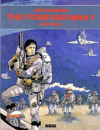 The Forever War (comics) - Cover of Volume I. The style and art quality of the cover are representative of the actual graphic novel. Mandella is standing in the foreground