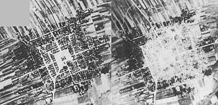 Before (left) and after (right) aerial photographs of the German Luftwaffe Bombing of Frampol. The town was completely destroyed. Frampol bombing.jpg