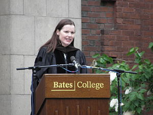 Geena Davis speaking at Bates College after re...