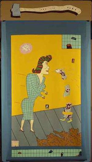 Funk art - Jim Nutt, I'm All A TWit, 1969, acrylic reverse painting on vinyl window shade with enamel on wood Pennsylvania Academy of Fine Arts.
