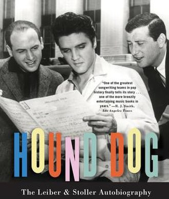 Jerry Leiber and Mike Stoller - Mike Stoller (left) and Jerry Leiber (right) flanking Elvis Presley on the cover of Leiber and Stoller's joint autobiography, Hound Dog