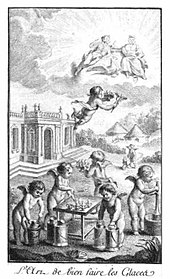 old book illustration with cherubs flying overhead