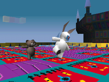 d02bb5142913 The game features a variety of surreal locations. This in-game screenshot  shows rabbit and bear non-playable characters (NPCs) wandering around such  a ...