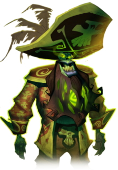An undead man in a stereotypical pirate captain's outfit and a large tricorn hat, which bears a skull and crossbones. With green skin, illuminate green eyes and a glowing beard, the pirate is grinning manically.