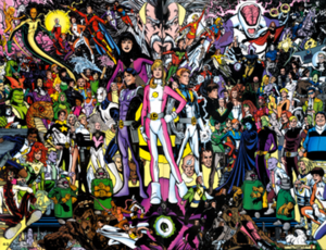 Legion of Super-Heroes (1994 team) - The Legion of Super-Heroes, with their allies and enemies. Art by Phil Jimenez.