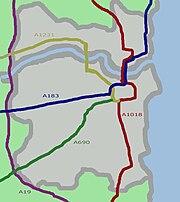 Illustration of the main roads through Sunderland.