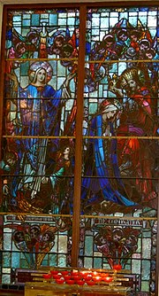 Image of the coronation of Mary in a stained glass window in St. Ultan's RC Church, Bohermeen in Ireland.