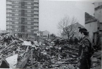 McGurk's Bar bombing - A British soldier surveys the aftermath of the bombing