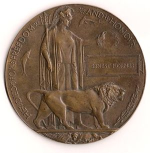 Mercantile Marine War Medal - Memorial plaque for Ernest Horner