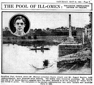 Michael Llewelyn Davies - Newspaper report of Davies' drowning