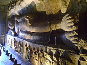 Parinirvana - Buddha attaining Parinirvana – Depicted in cave 26 of Ajanta Caves - India