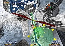 The screenshot shows a character in a red hang glider descending along an icey river between two snow-covered mountains. Green rings made up of yellow triangles accent the desired path. A radar is displayed at the top right. The character's time is on the top left. The character's speed, number of available photographs, and altitude are displayed at the bottom.