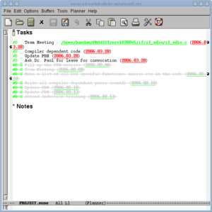 Planner (program) - Planner(PIM) running in Emacs