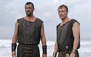 "Rome (TV series) - Ray Stevenson as Titus Pullo (left) and Kevin McKidd as Lucius Vorenus (right), seen in the episode ""Pharsalus"""