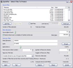 QuickPar - Par2 file creation screen