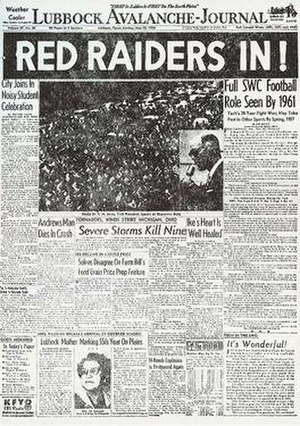 History of Texas Tech Red Raiders football - Texas Tech's acceptance into the Southwest Conference headlines the Lubbock Avalanche-Journal, 1956