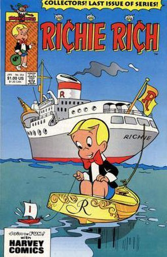 Richie Rich (comics) - Cover of Richie Rich No. 254 (Jan. 1991), the final issue of the flagship series.