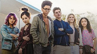 Runaways (comics) - Promotion image of the Runaways from the 2017 television series of the same name (L:R: Ariela Barer as Gert Yorkes, Lyrica Okano as Nico Minoru, Rhenzy Feliz as Alex Wilder, Gregg Sulkin as Chase Stein, Virginia Gardner as Karolina Dean, Allegra Acosta as Molly Hernandez).