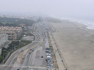 Great Highway - The northern end of the Great Highway and Ocean Beach, as seen from Sutro Heights Park