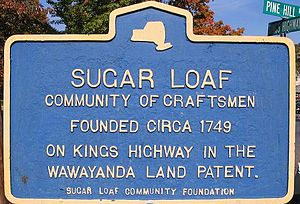 Sugar Loaf, New York - Historical marker at the intersection of Kings Highway and Pine Hill Road