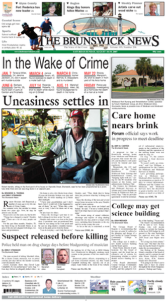 The Brunswick News - The 2007-08-19 front page of The Brunswick News