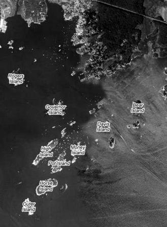 Thimble Islands - Satellite image of the Thimble Islands with the largest islands labeled.