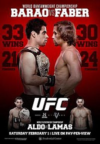 A poster or logo for UFC 169: Barao vs. Faber II.