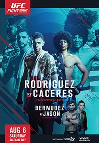 A poster or logo for UFC Fight Night: Rodríguez vs Caceres.