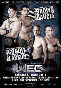 A poster or logo for WEC 39: Brown vs. Garcia.