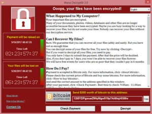 WannaCry ransomware attack - Screenshot of the ransom note left on an infected system