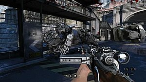 Wolfenstein: The Old Blood - Wolfenstein: The Old Blood gameplay. Like The New Order, players assault AI-programmed hostiles such as this Panzerhund.