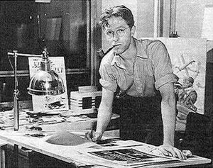 Bill Everett - Everett in a 1940s Timely Comics promotional image