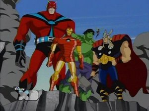 The Avengers: Earth's Mightiest Heroes - Ant-Man/Giant-Man, Iron Man, the Hulk, Wasp and Thor.