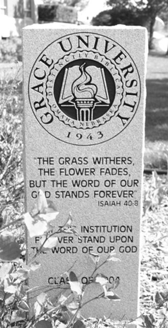 Grace University - The dedication stone in the courtyard.