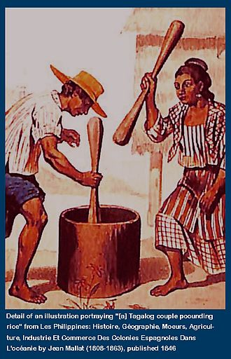 Rajahnate of Maynila - Image: Captioned Detail of Jean Mallat 1846 Illustration Tagalog Couple Pounding Rice