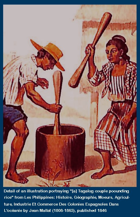 Captioned Detail of Jean Mallat 1846 Illustration Tagalog Couple Pounding Rice