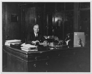 Carl Fischer Music - Walter S. Fischer, son of the founder and President from 1923-1946, sits at his desk in the 1940s.