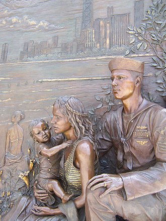 Soldier Field - Sculpture of a sailor and his family, gazing eastward, over Lake Michigan