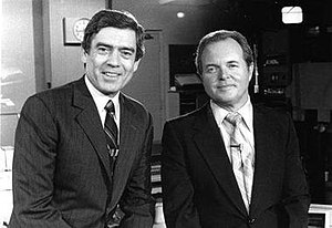 Don Owen (news anchor) - Owen (right) with Dan Rather of CBS News in KSLA-TV file photo