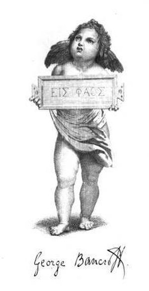 "Bookplate - George Bancroft's bookplate and signature. ""εἰς φαος"" is Greek for ""Toward the Light"". The tablet is an ancient Roman tabula ansata."