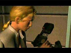 Enemy Zero - Laura acquiring a gun during an FMV sequence