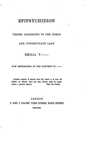 Epipsychidion -  1821 title page, Charles and James Ollier, London.